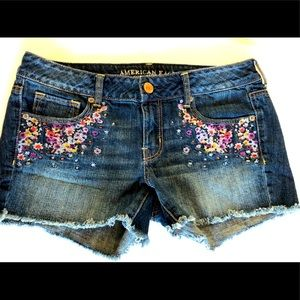 American Eagle Floral Needlepoint Shorts, 10, EUC